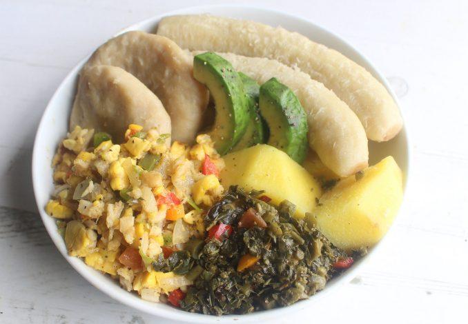 Jamaican-hard-food-boiled-green-banana-yam-dumpling-ackee-callaloo